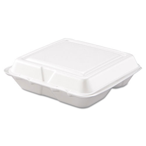 Foam hinged lid carryout containers small three compartment case of 200 dart dcc80ht3r