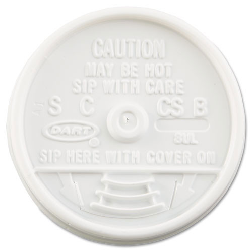 Plastic lids for hot or cold foam cups white sip thru lid case of 1000 dart dcc8ul