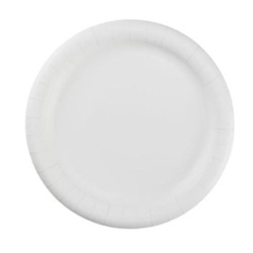 Coated paper plates 9 inch white flute AJM case of 500 plates ajmcp9ajcwwh14