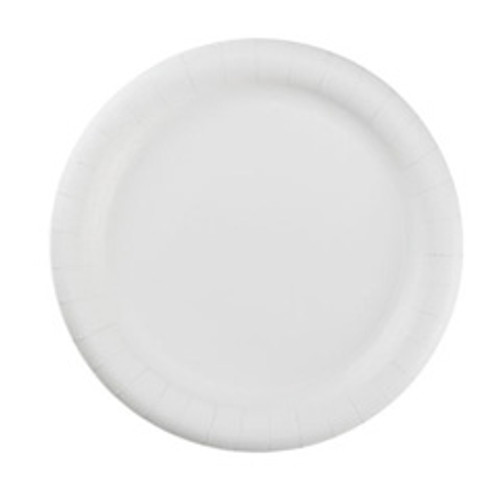 Coated paper plates 9 inch white gold label AJM case of 1000 plates ajmcp9goewh