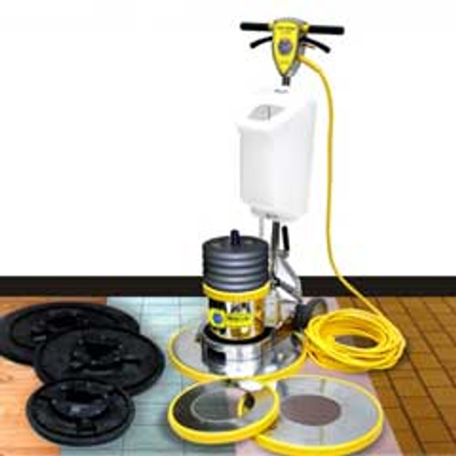 Mercury The Boss MultiTasker BOSS1BMT175 super heavy duty floor buffer scrubber machine 13 17 and 21 inch combination with pad drivers solution tank and 50 lb weight 175 rpm 1.5 hp