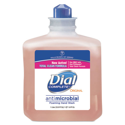 Dial DIA00162 1000ml Complete foaming handsoap refills antimicrobial peach scent case of 6 for dispensers DIA06055 DIA06056