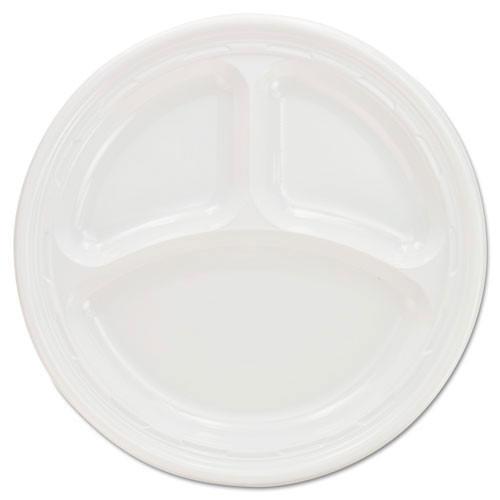 Impact plastic dinnerware 9 inch three compartment plate case of 500 dart dcc9cpwf
