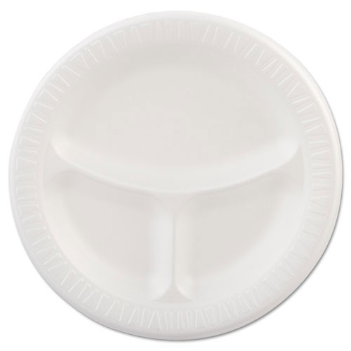 Quiet classic laminated foam dinnerware 9 inch three compartment plate case of 500 dart dcc9cpwqr