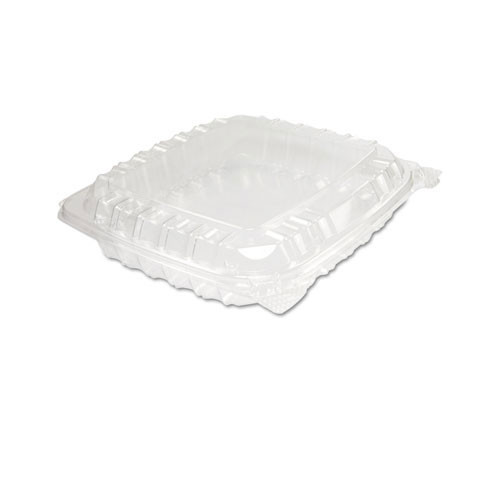 Clearseal clear hinged lid containers medium 8.25 X 8.25 X 2 case of 250 Dart Dccc89pst1