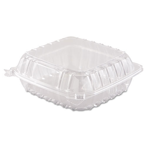 Clearseal clear hinged lid containers medium shallow 8.25 X 8.25 X 3 case of 250 Dart Dccc90pst1