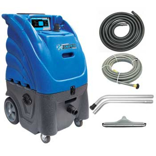 Sandia flood pumper 806000wsq wet vacuum 12 gallon automatic pump out dual 3 stage motors includes squeegee wand and hoses