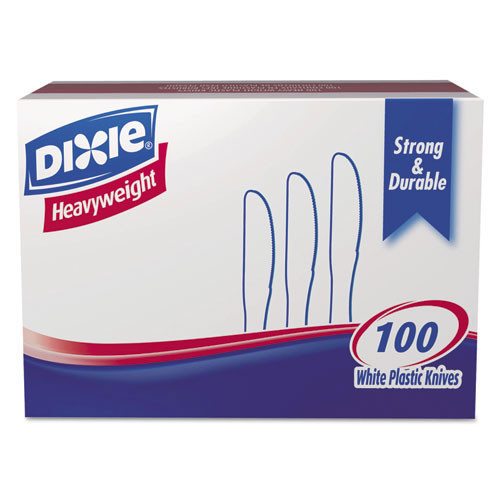 Heavyweight plastic knife full size cutlery polystyrene white case of 1000 replaces dixkh207 Dixie dxekh207ct
