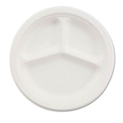 Paper white plate round chinet premium strength paper dinnerware 10.25 inch 3 compartment case of 500 plates huhtamaki huh21204ct