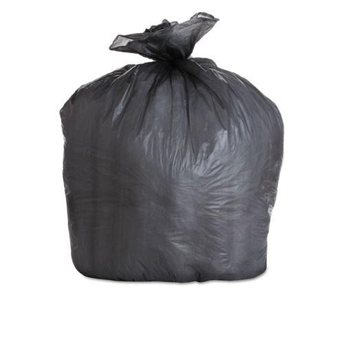 Boardwalk BWK434722BLK 56 gallon trash bags case of 150 black 43x47 high density 22 mic eqv extra heavy duty strength coreless rolls