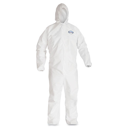 Disposable coveralls a40 liquid and particle protection Kleenguard white zipper front elastic wrists and ankles with hood size 2x large case of 25 coveralls Kimberly Clark kcc44325