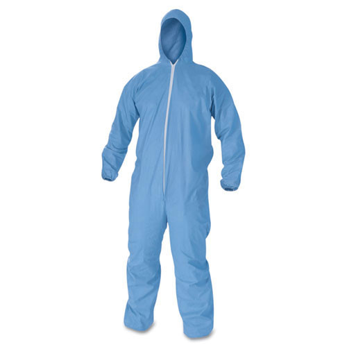 Disposable coveralls a60 bloodborne pathogen chemical splash protection blue zipper front elastic back wrist ankles with hood size 2x large case of 24 coveralls Kimberly Clark kcc45025