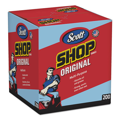 Scott shop wiper towels blue pop up box 10x13 sheet size 200 sheets per box case of 8 boxes Kimberly Clark kcc75190