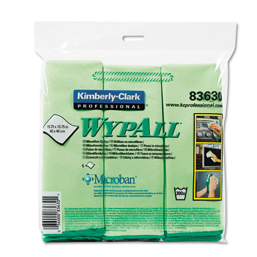 Microfiber cleaning cloths green glass and mirror Wypall microfiber cloths 15.75x15.75 inch case of 24 cloths Kimberly Clark kcc83630ct