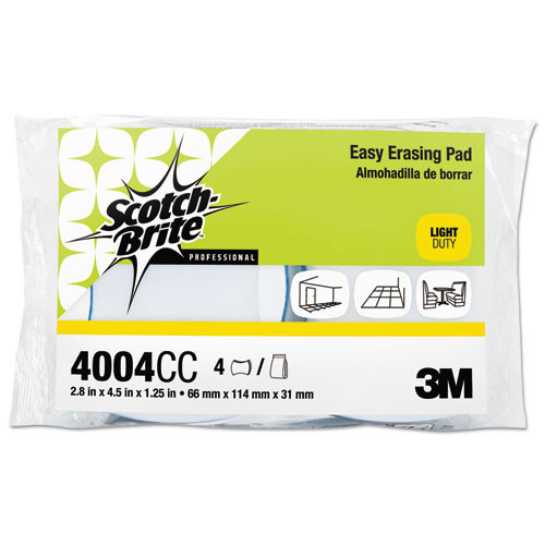3M 4610 Doodlebug Easy Erasing Pad MMM55658 Scotchbrite pretreated cleaning pads 4.625x10 blue sponge on one side eraser on the other case of 12 pads replaces MCO55658
