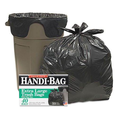 HandiBag WBIHAB6FTL40 super value pack trash bags 33gal .65mil 32.5x40 black 40 box