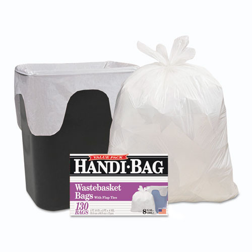 HandiBag WBIHAB6FW130 handi bag super value pack 8gal .55mil 22x24 white 130 box