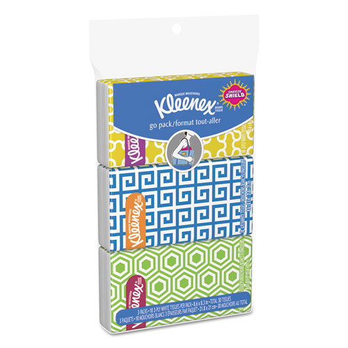 Kleenex KCC11976 facial tissue pocket packs 3 ply 36 packs carton