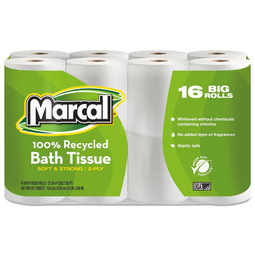 Marcal MRC16466 100 percent recycled two ply toilet tissue white 96 rolls per carton