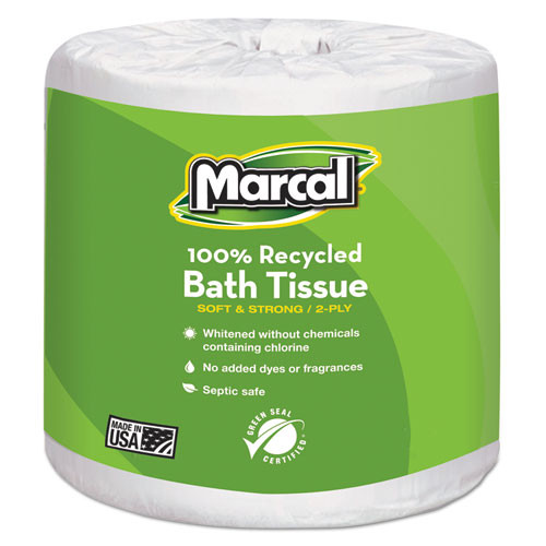 Marcal MRC6079 100 percent recycled two ply embossed toilet tissue white 48 rolls per carton