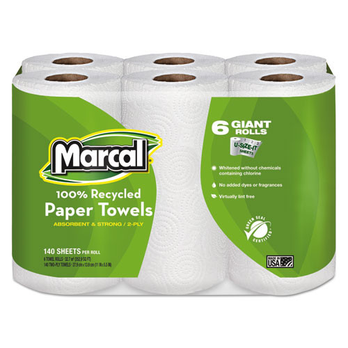 Marcal MRC6181CT 100 percent recycled roll towels 5.5x11 140 roll 24 rolls per carton