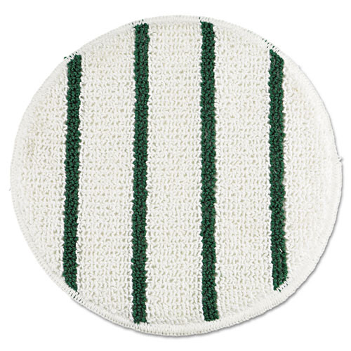 Rubbermaid RCPP269 low profile green stripe carpet bonnet 19 inch diameter white green 5 pads pack