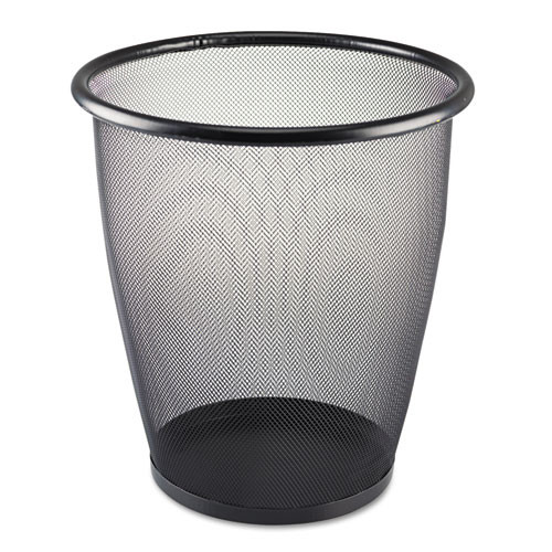 Safco SAF9717BL onyx round mesh wastebasket steel mesh 5gal black
