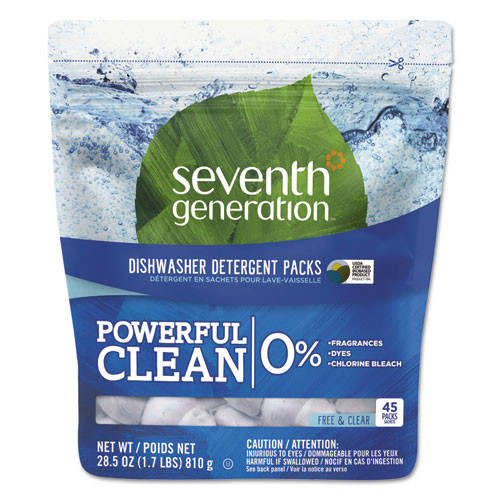Seventh Generation SEV22897 natural dishwasher detergent concentrated packs free and clear 45 packets pack
