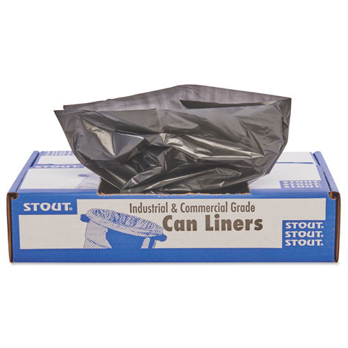 Stout STOT2424B10 100 percent recycled plastic garbage bags 7 10gal 1mil 24x24 brown black 250 ct