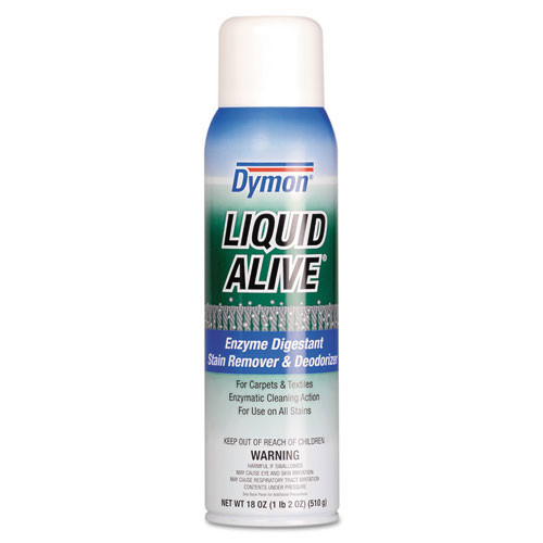 Dymon liquid Alive enzyme carpet spot remover aerosol 20oz cans case of 12 replaces DYM33420 ITW33420