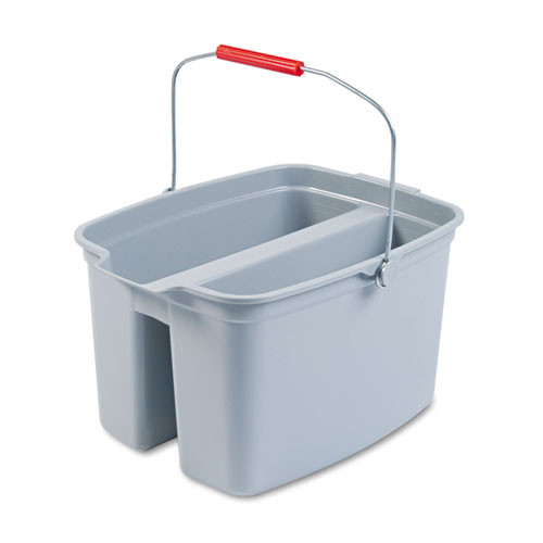 Rubbermaid 262888gra double pail bucket 19 quart with handle gray 18w x 14.5d x 10h replaces rcp262888gra rcp262888gy
