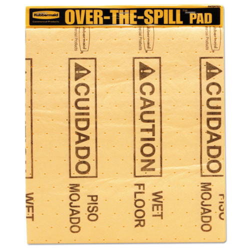 Rubbermaid 4254yel over the spill pad caution wet floor absorbent pad 16.5x14 inch sheet size each pad has 25 sheets pa replaces rcp4254yel rcp4254