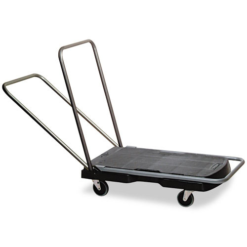 Rubbermaid 4400bla triple trolly three position handle for pushing pulling or using as a dolly 20.875x31.75 inch platform 250 lb. black replaces rcp4400bla rcp440000