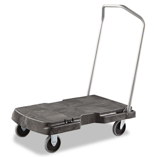 Rubbermaid 4401bla triple trolly three position handle for pushing pulling or using as a dolly 20.875x31.75 inch platform 500 lb. black