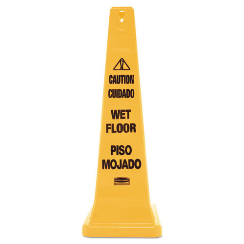 Rubbermaid 627677yel wet floor safety cone four sided caution wet floor cone 36 inch replaces rcp627677yel rcp627677