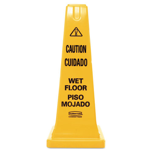Rubbermaid 627777yel wet floor safety cone four sided caution wet floor cone 25.75 inch replaces rcp627777yel rcp627777