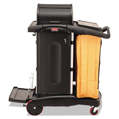 Rubbermaid 9t75 microfiber janitor cart high security cleaning cart with vinyl bag and disinfecting caddies 22x48.25x53.5 black replaces rcp9t75 rcp9t7500bk