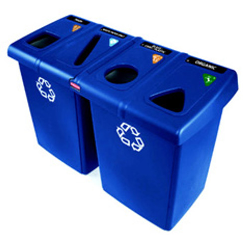 Rubbermaid 1792372 Glutton recycling station with 4 streams contains item specific tops symbol label pack and 4 Slim Jim containers 92 gallon total capacity 24x53x35.5