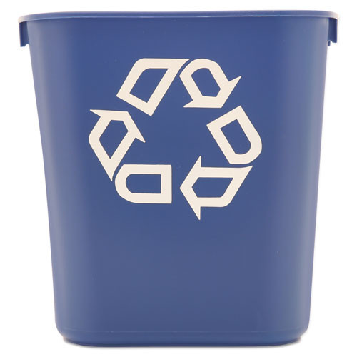 Rubbermaid 295573blu deskside recycling container blue with recycling logo 13.625 quart replaces rcp295573blu rcp295573be
