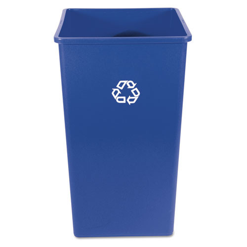 Rubbermaid 395973blu Glutton square recycling container 50 gallon blue