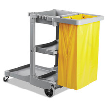 Boardwalk BWKJCARTGRA Janitor Cart with 24 gallon yello