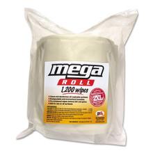 Mega Roll Wipes Refill, 8 x 8, White, 1200/Roll, 2 Rolls/Carton