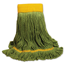 EcoMop Looped-End Mop Head, Recycled Fibers, Large Size, Green, 12/Carton