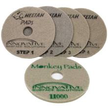 Cheetah Pads 17 inch one pad each Step 1 thru 4 plus 11,000 grit Monkey Pad