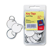 Key tags card stock and metal rim white AVE11025