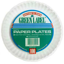 Uncoated Paper Plates 9 inch white green AJMPP9GREWH