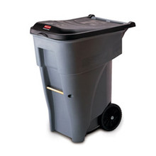 Rubbermaid 9W21GRA trash can with wheels RCP9W21GY