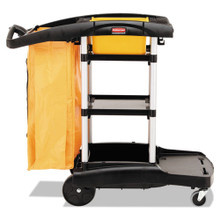 Rubbermaid 9T72 microfiber janitor cart RCP9T7200BK