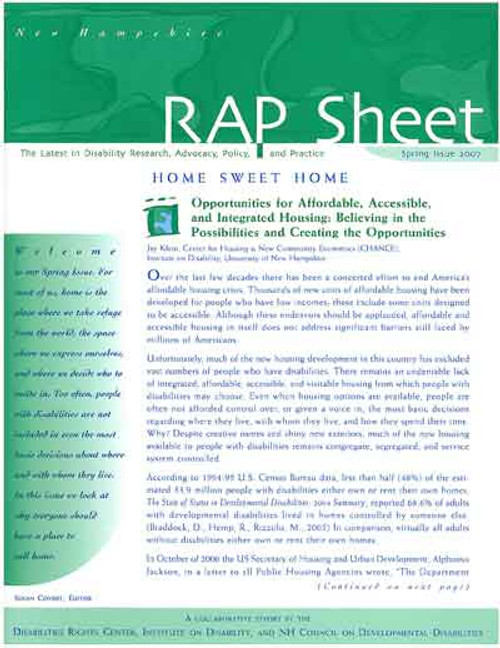 NH RAP Sheet Spring 2007: Home Sweet Home