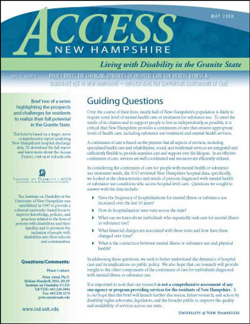 Access NH  Policy Brief: The Changing Dynamics of Hospital Care for Mental Illness & Substance Use in NH